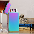 Fashion Double Pulse Arc Metal Ultra Thin USB Lighter Creative Charging Electronic Cigarette Lighters Gift Box