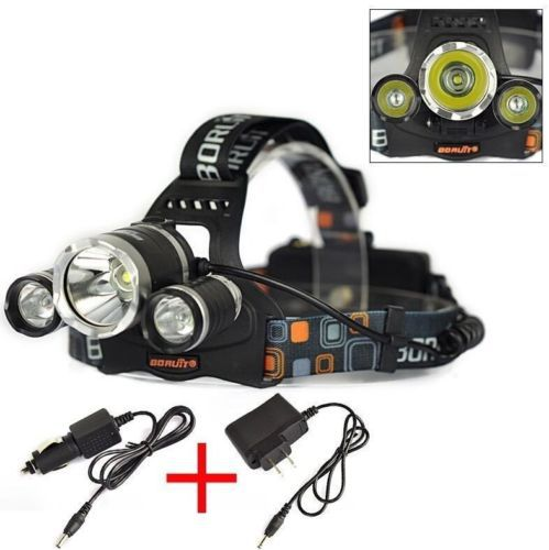Boruit 3*Cree XML XM-L T6 LED 5000LM 4 Modes Waterproof Led Rechargeable Headlight Head Lamp For Outdoor Hunting+Chargers(China (Mainland))