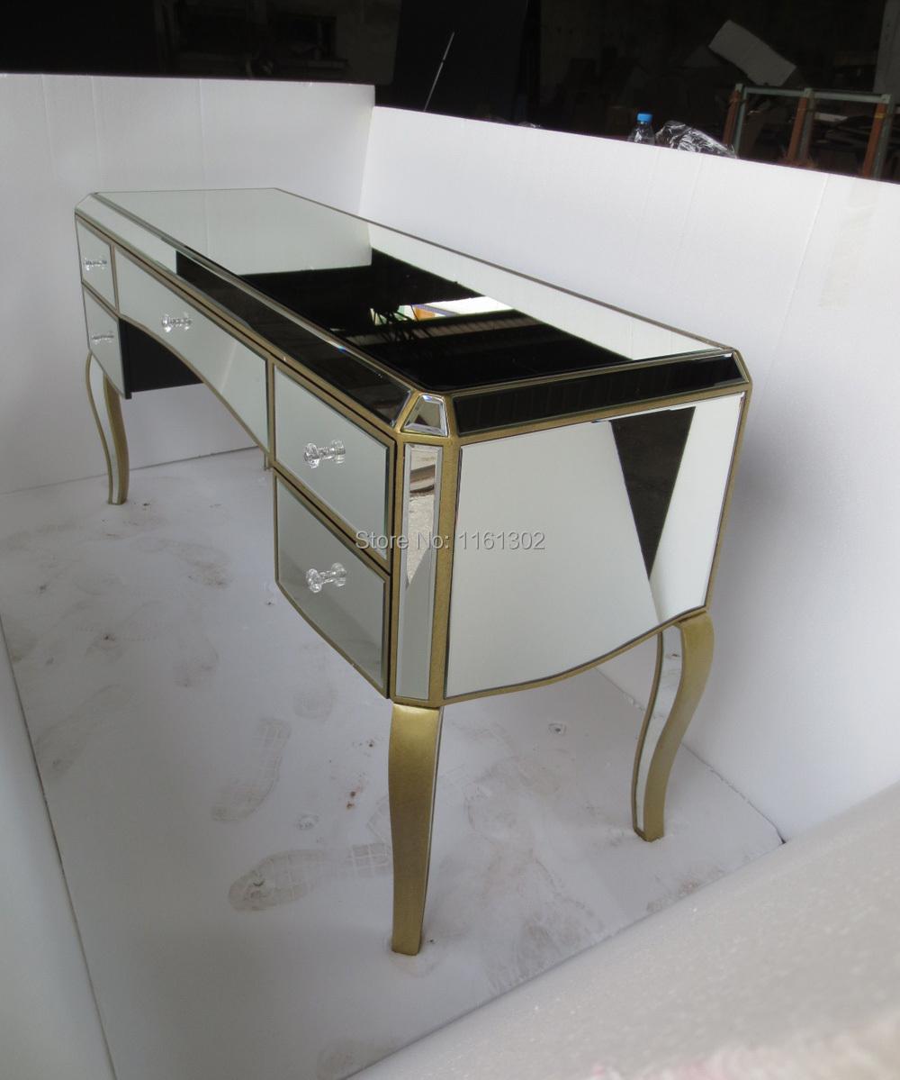 About Mr 401051 Antique Gold Rimming Mirrored Drawers Vanity Table
