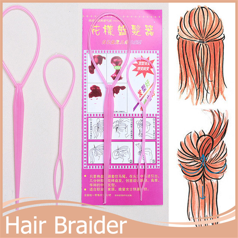 3Pack/ lot Chic Magic Topsy Tail Hair Braid Braiding Ponytail Styling Maker Clip Tool for Women Headwear Hair Styling Tools(China (Mainland))