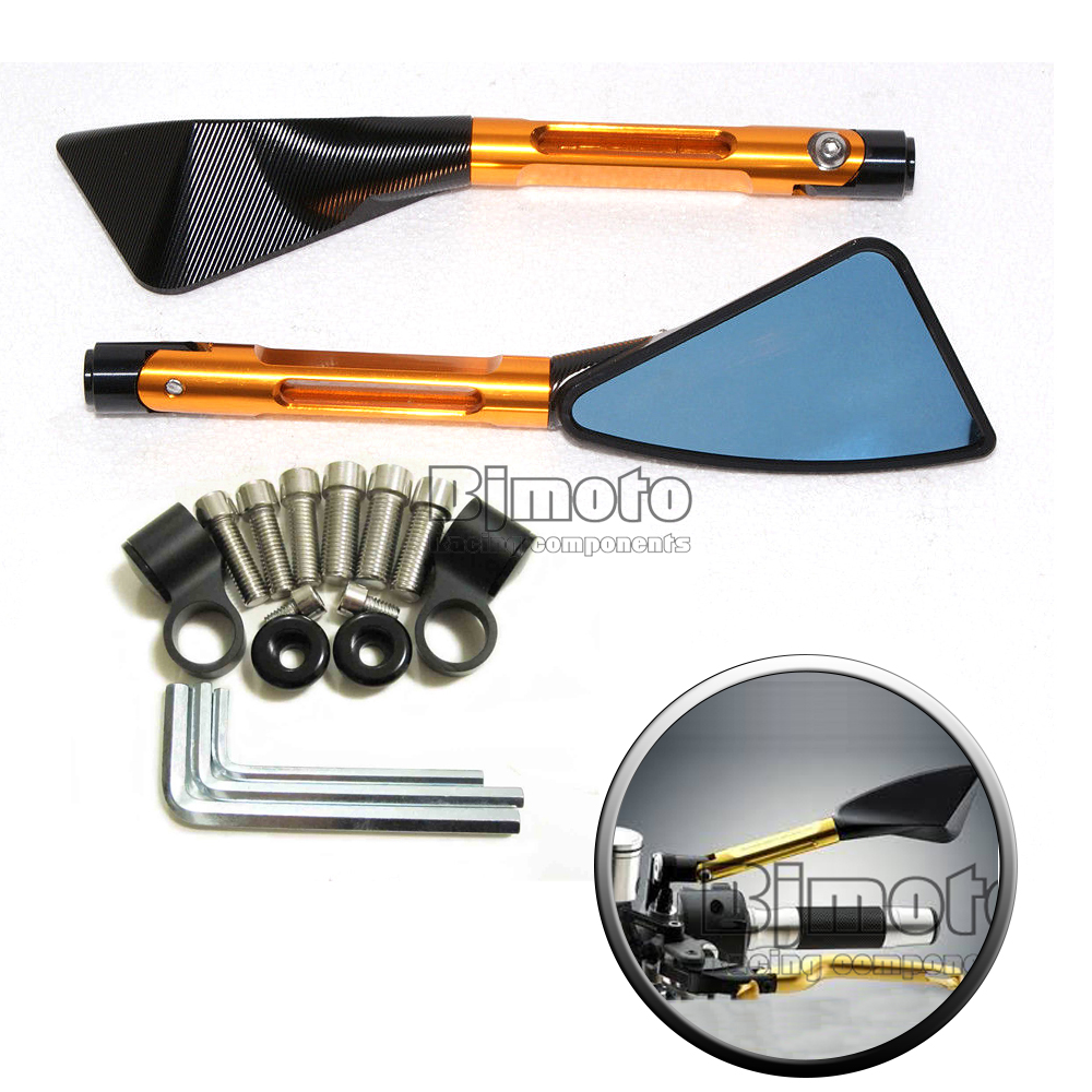 RM-026-BK-GO 2X Motorcycle CNC Rearview Tomahawk NEW YELLOW AMBER Side Mirror for CBR GSXR R1 R6 ZX(China (Mainland))