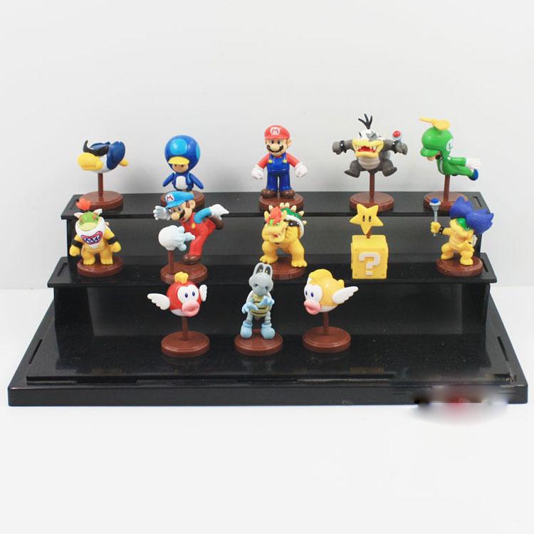 EMS 60Sets  Free shipping Original Anime Super Mario Bros 3cm Super Mario Yoshi Dinosaur PVC Figure Toy 13pcs/set with in Box