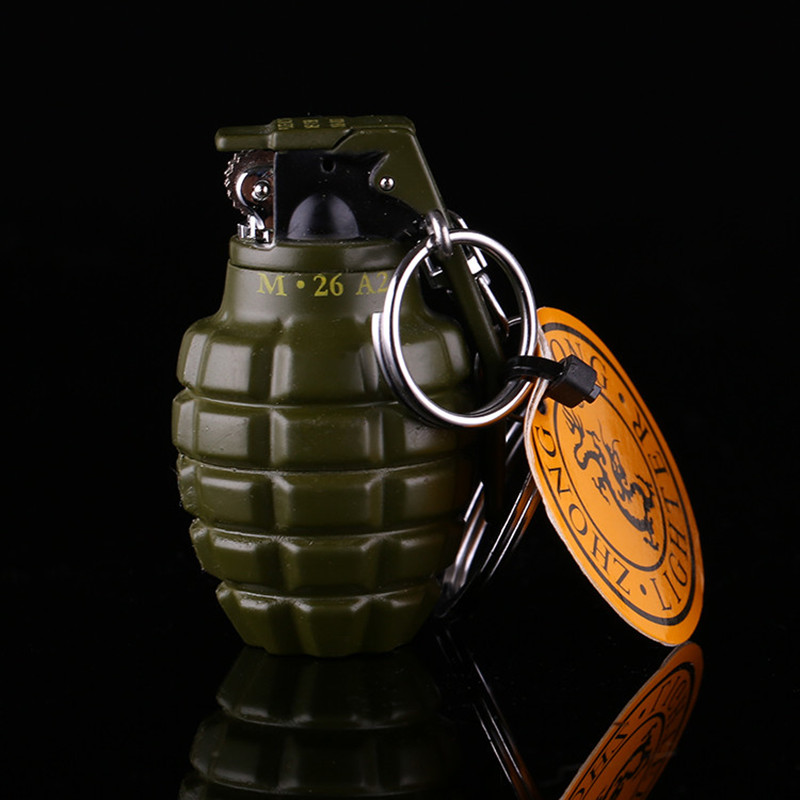 Novelty Creative Grenades Lighter Cigarette Lighter Windproof lighterWheel Fame Model Military Fans With Essential Accessories(China (Mainland))