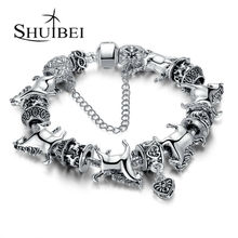 Free Shipping European Style Silver DIY Bangle With Rotating Horse Animal Bead Love Heart Vintage Charm Bracelet Jewelry SPA062