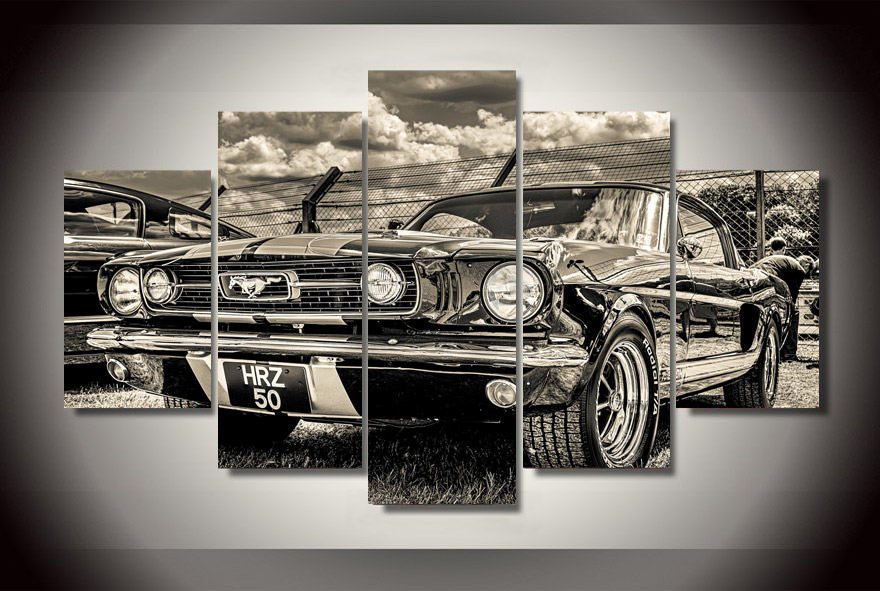 HD Printed 1965 ford mustang Painting Canvas Print room decor print poster picture canvas Free shipping/ny-3002(China (Mainland))