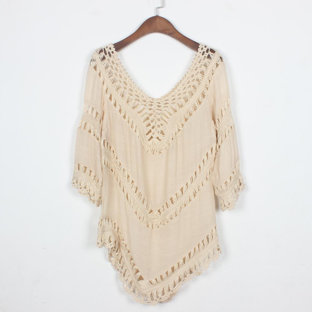 Boho People beach crochet blouse casual Bikini Cover up crop top Women Summer shirt tee tops(China (Mainland))
