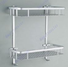 Free Shipping Kitchen Bathroom Multi-functional Double Shelf Racks With Hooks Space Aluminum Selling(China (Mainland))
