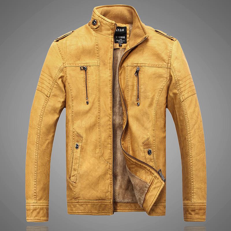 2015 new men leather coat Fashion men s motorcycle jacket leather velvet Winter Leather Jacket