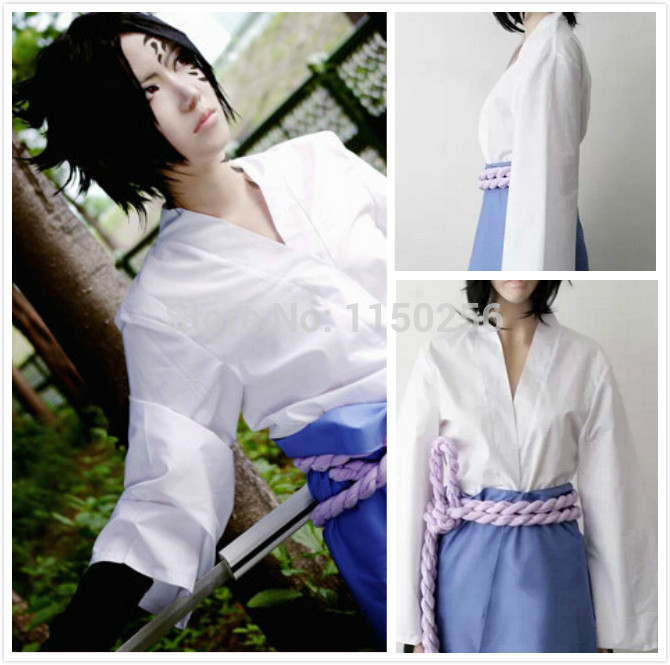 Free Shipping New Naruto Uchiha Sasuke Cosplay Costume Halloween Costume One Set Outfit 3 nd New(China (Mainland))