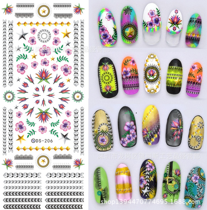 Manufacturers wholesale 4 PCS/lot 2015 newest water transfer printing nail art decals stickers for nails decorations(China (Mainland))