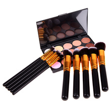 Factory Price 10 PCS Makeup Brushes Set + 15 Colors Concealer + Sponge Puff High Quality GUB#(China (Mainland))