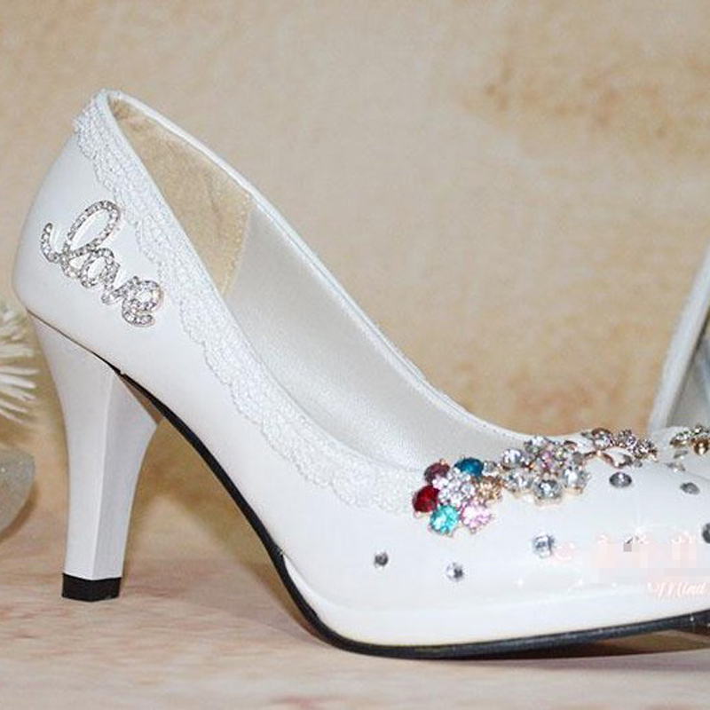 free shipping white wedding shoes woman high heel