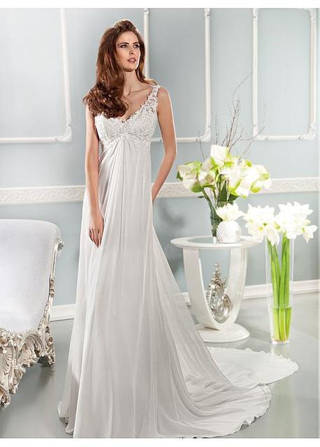 2016 новое поступление платье элегантный аппликация платья из шифона пляж свадебные ...