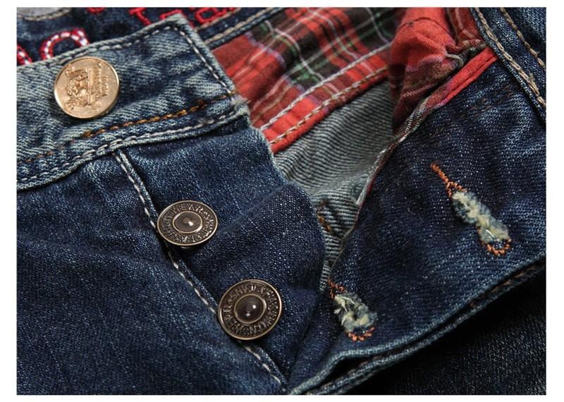 2016 New Arrival Plus Size  Mens Jeans Denim Pants Washed Moustache Effect Vintage Spliced Pockets Slim Straight