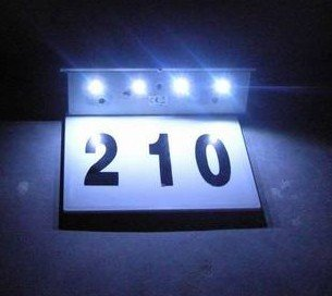 Wholesale - free shipping/Solar Number plate light 4 Led + stainless steel solar doorplate Solar house number(China (Mainland))
