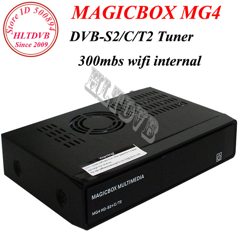 Newest Model MAGICBOX MG4 HD satellite tv receiver linux os twin tuner DVB-S2/T2/C 300mbs wifi internal DHL free shipping(China (Mainland))