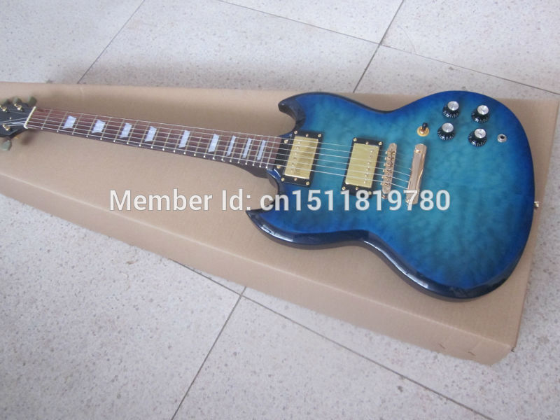 Free shipping Wholesale new g sg g400 guitar/oem brand lp blue colorguitar with maple flame/guitar in china(China (Mainland))