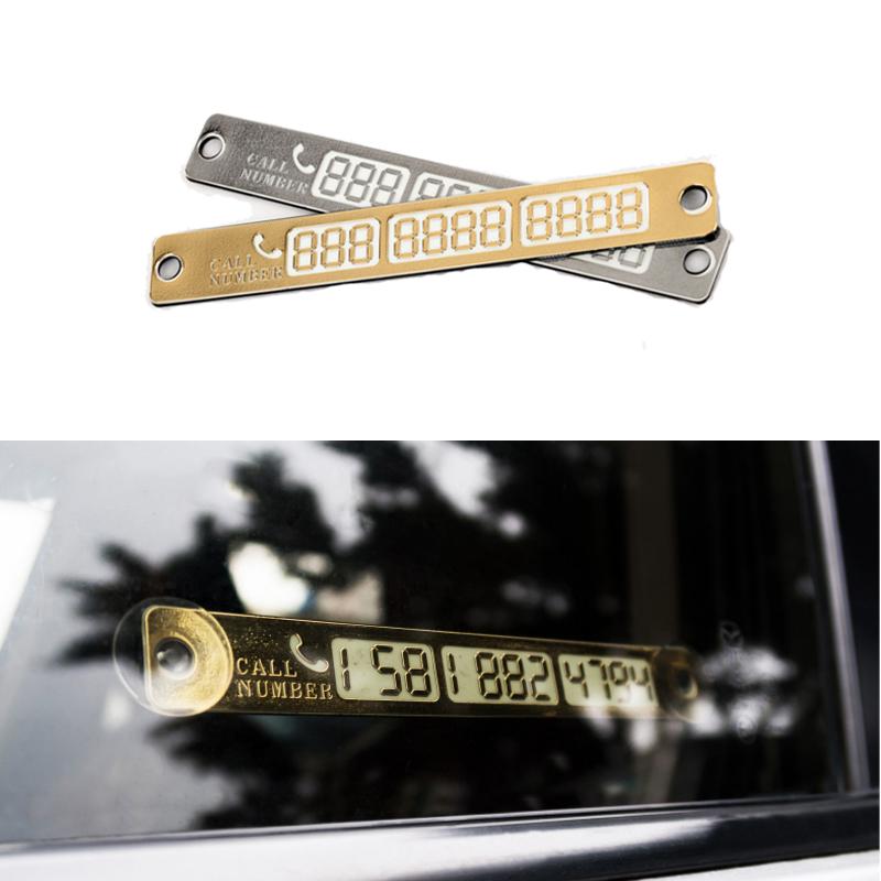 Новые стайлинга автомобилей световой временная парковка карта с присосками и ночник телефон номер карты плиты золотой серебристый