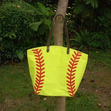 Wholesale Blanks Cotton Canvas Softball Tote Bags Baseball Bag Football Bags Soccer ball Bag with Hasps Closure DOM103281