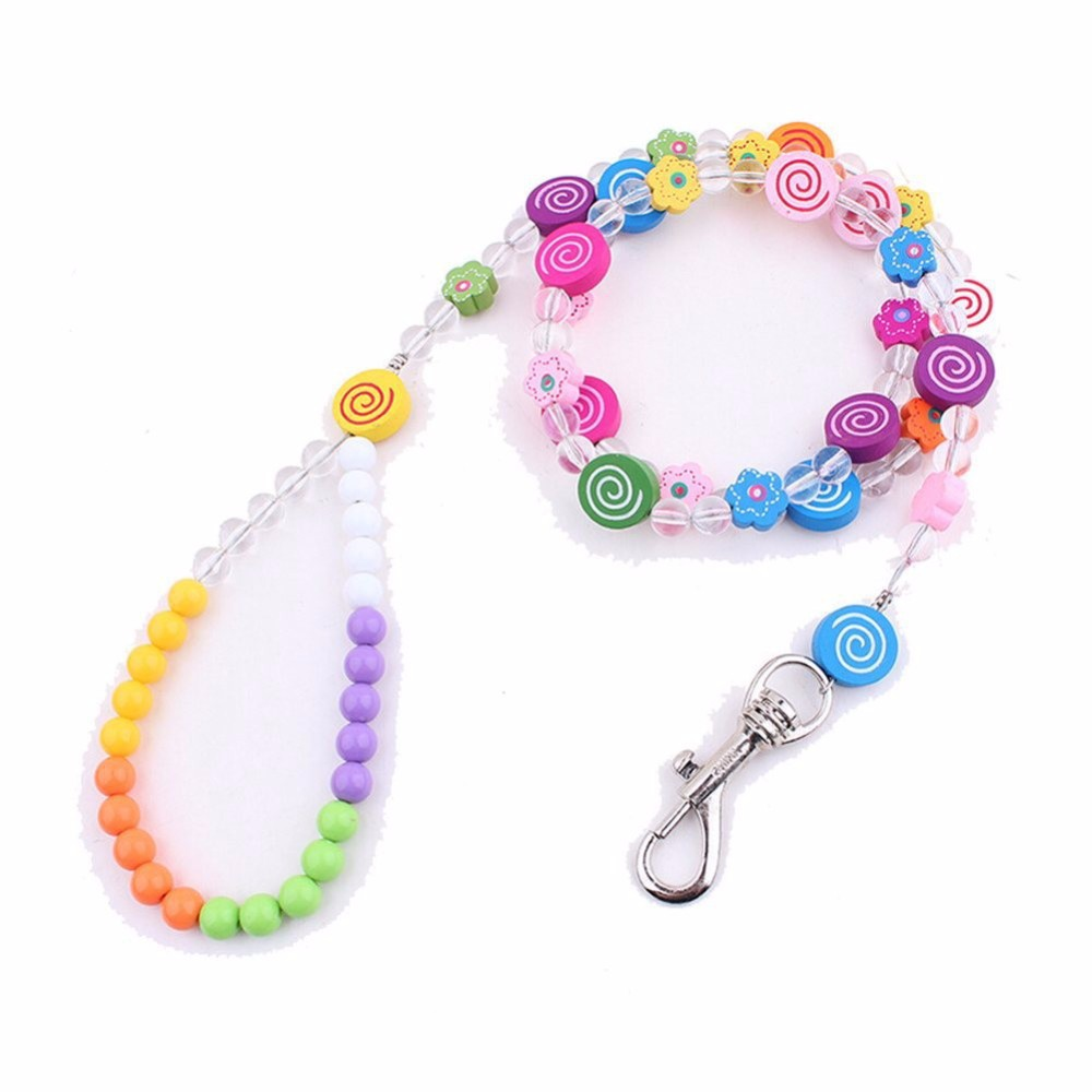 Candy-colored Wooden Cartoon Pet Traction Rope, Lovely Animal Flower Beads Dog Cat Leash, Unique Puppy Leads Pet Jewelry Supply(China (Mainland))