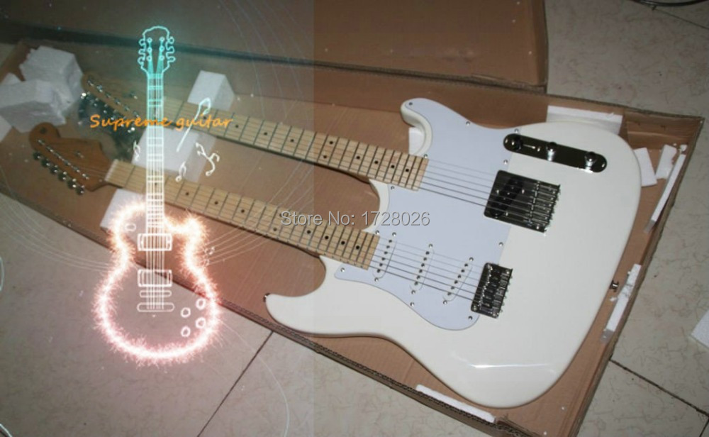 Wholesale and retail Custom shop Double neck guitars White electric guitar Free Shipping(China (Mainland))