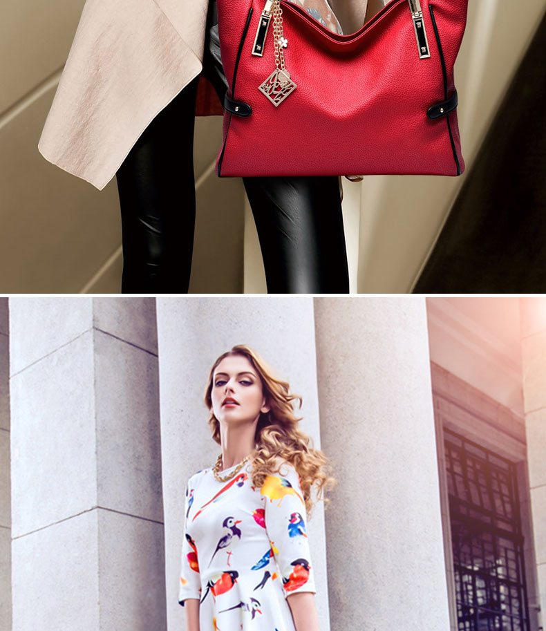 Exquisite Elegant Women Plain Tote Bag Fashion Large Hand Bag Ladies Functional Daily Leisure PU Leather Shoulder Bag