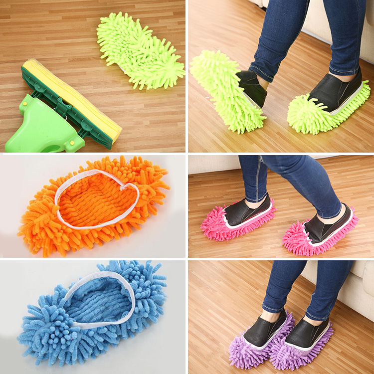 Multifunction Chenille Mop Shoes Cleaning Room Slippers Lazy Drag Useful(China (Mainland))