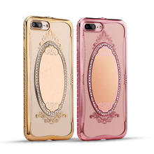 Luxury Princess Bling Rhinestone Diamond Mirror Plating TPU Makeup Case for iPhone 5 SE 6 6S 6Plus iPhone7 Plus Cover Ring Stand(China (Mainland))
