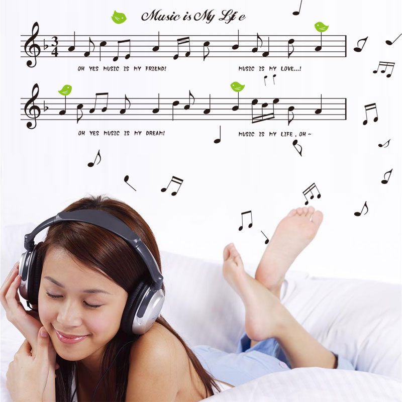 Free ship Musical note picture wall art stickers bedroom wallpaper living room child home decoration paper painting(China (Mainland))