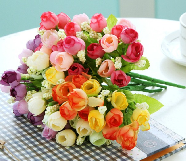 Wedding decorations artificial silk flower bouquet spring Pearl Tea Rose home fence flores 30pcs/lot free shipping