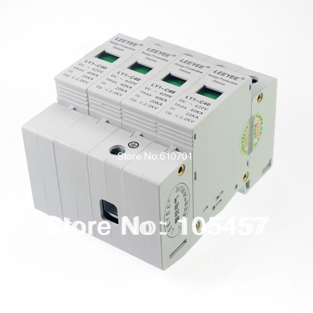 4P 20~40KA Din Rail Surge Protection Lightning Arrester<br><br>Aliexpress