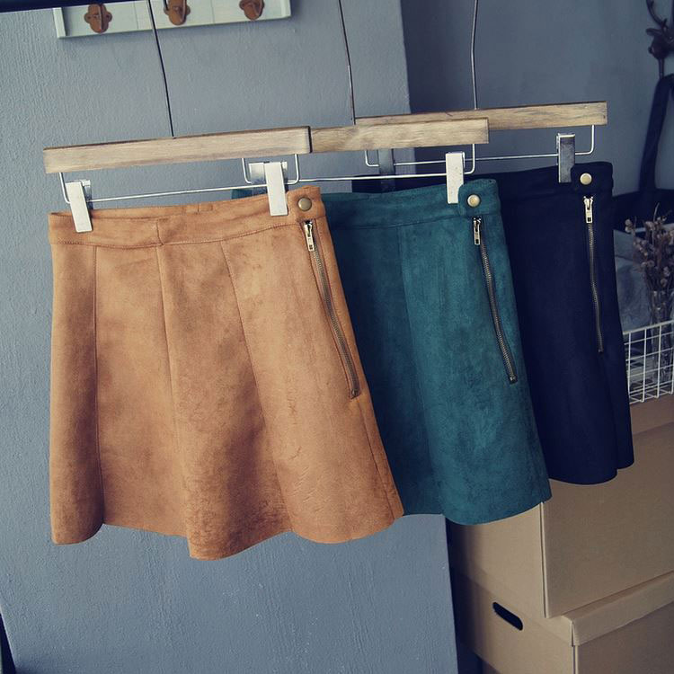 Jupe Hiver 2015 Fall/Winter New Womens Retro Package Hip Suede Skirts Ladies High Waist Slim A Line Mini Skirts(China (Mainland))