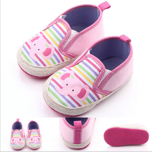 2016 Lovely Pink Elephant Baby Shoes Antislip Infants Boys Girls First Walkers Boys Girls Crib Shoes(China (Mainland))