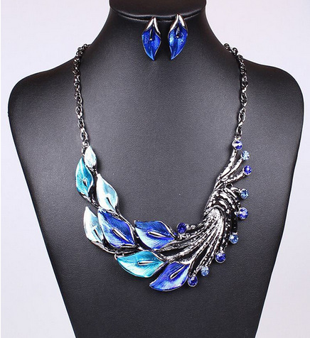 Vintage Peacock Pendant Choker Necklace Earrings Set Fashion Bridal Jewerly Set Wedding Accessories For Women 2T001(China (Mainland))