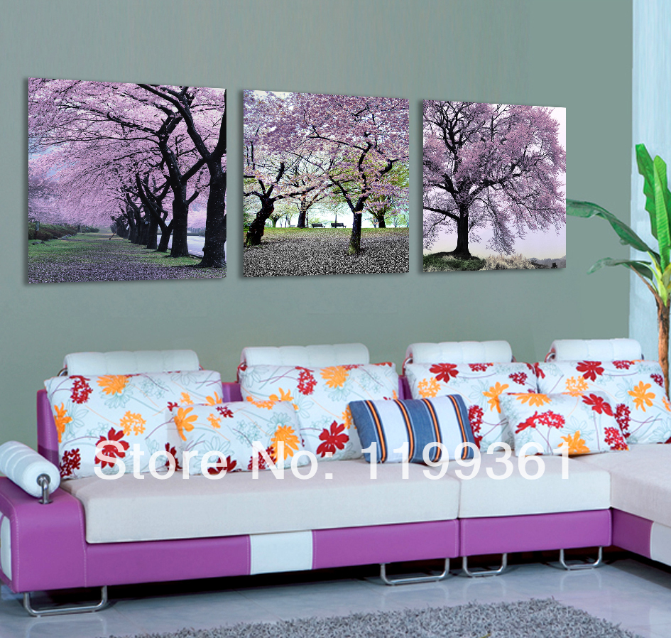 3 Piece Free Shipping Modern Wall Painting Purple Cherry Blossom Tree Scenery Home Decoration Art Picture Paint on Canvas Prints(China (Mainland))