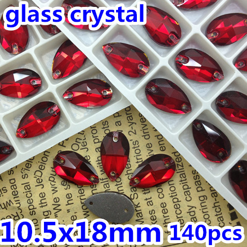 140pcs/box 10.5x18mm Teardrop Sew on stone Siam red color Flatback 2 holes Pear drop sewing crystal rhinestones for dress making(China (Mainland))
