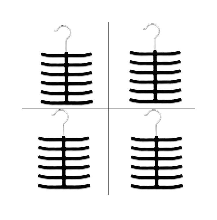 4 Pcs Tie Belt Scarves Hanger Holder Rack Closet Organizer Black Velvet Cloth EN0920(China (Mainland))