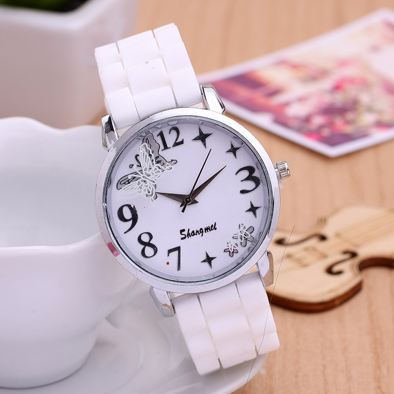 New Design Flower Silicone ladies watches Colorful Butterfly Dial Quartz orologi donna Fashion Suspended Contour clock(China (Mainland))