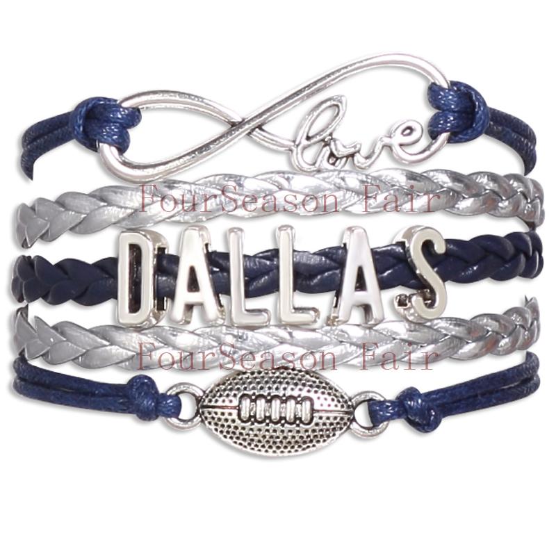 Customizable-Infinity Love Dallas State Cowboys Football Sport Team Bracelet navy blue silver Custom NFL Bracelets-Drop Shipping(China (Mainland))