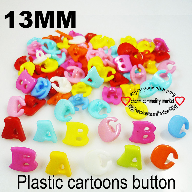 100PCS 13mm ABC LETTER CARTOON plastic buttons clothes accessory jewelry CRAFTS P-033(China (Mainland))
