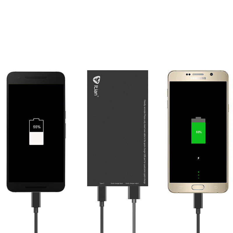 Full 8800mAh Power Bank QC3.0 Quick Charge Portable External Battery Pack 2 Dual USB Micro Type C Output Universal CE FCC RoHS
