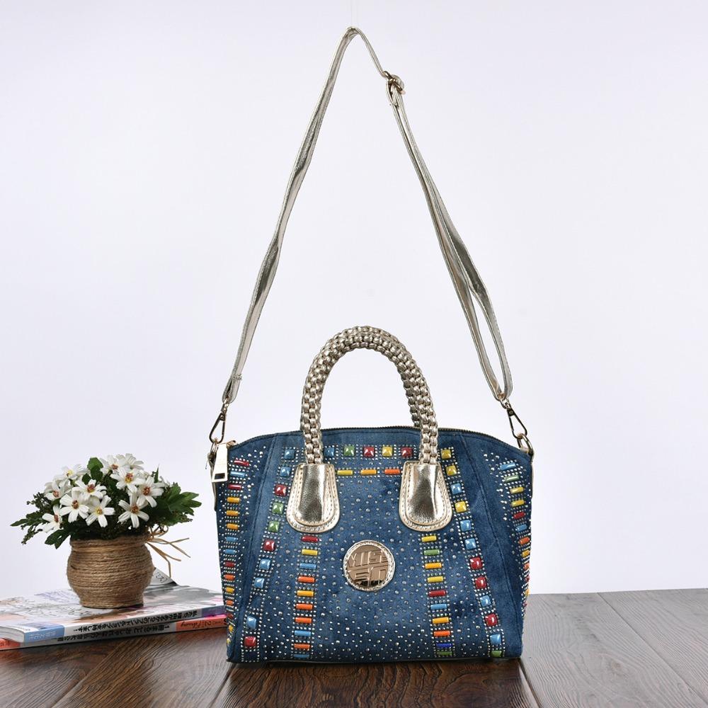 Luxury Rhinestone Diamonds Rivet Trendy Design Women's Tote Bags Cotton Denim Women Handbags Elegant Jeans Shoulder Bags(China (Mainland))