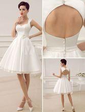 Vestido De Noiva Sleeveless Scoop Elegant Knee Length Satin Flower Keyhole Back A-line Wedding Dress NM 599(China (Mainland))
