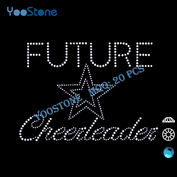 New Products On China Market, 20 Pcs/Lot Future Cheerleader Rhinestone Heat Transfers Wholesale For Decorate Sports Clothing(China (Mainland))