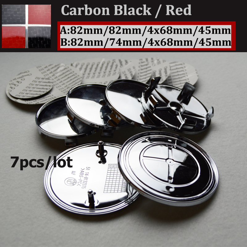 7pcs Kit Wheel Hub Cap Head Hood Logo Badge/Trunk Emblem Cover Front Bonnet Emblem Car Steering Wheel Cap Carbon Black/Red(China (Mainland))