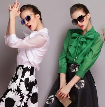 lady charming elegant beaded bow tie collar blouse top women's romantic fashion casual chiffon shirt in white blue green black(China (Mainland))
