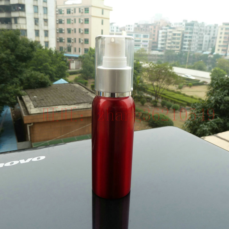 80ml aluminum red bottle With (white plastic + silver aluminum) pump.for lotion and essential oil. lotion cream packing<br><br>Aliexpress