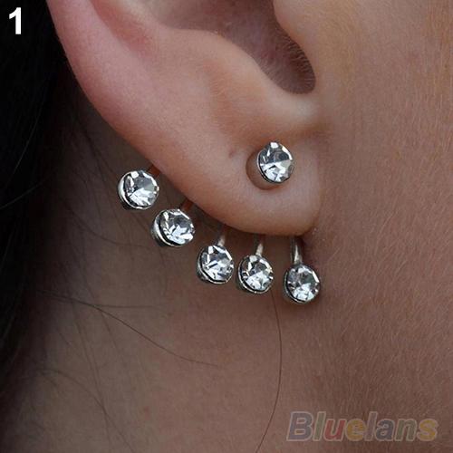 New Women Silver Star Rose Flower Diamante Crystal Ear Cuff Cartilage Stud Earring earrings for women 059Z(China (Mainland))