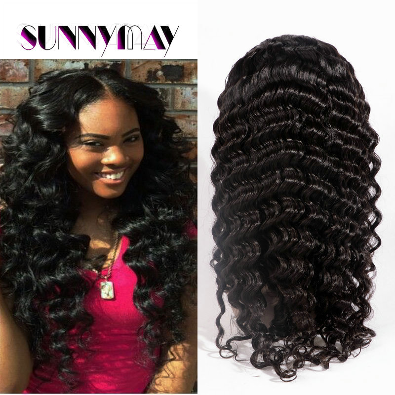 7A Top Quality Glueless Full Lace Human Hair  Wigs Deep Wave Unprocessed Mongolian Virgin Hair Natural Hairline For Black Women <br>