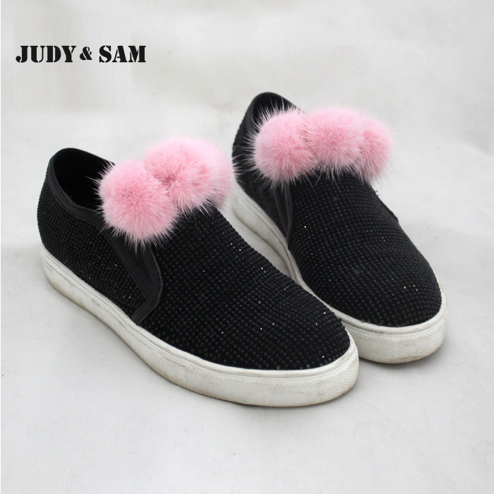 6pcs/Lot Vintage Real Mink Fur Pom Pom Clips for Shoes Clothes Accessories for Women Detachable Pompoms for Girl(China (Mainland))